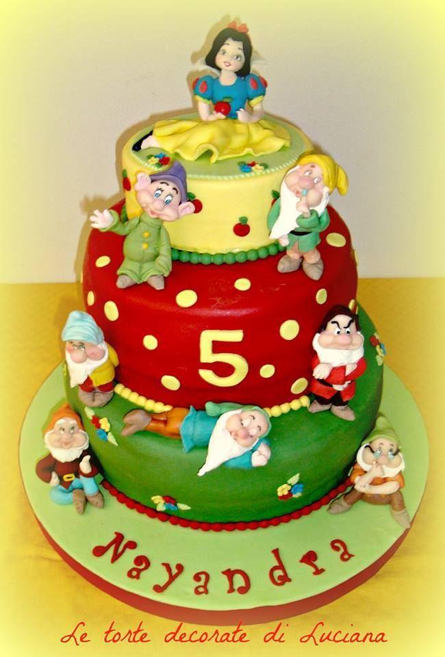 torta di compleanno a tema Biancaneve e i sette nani
