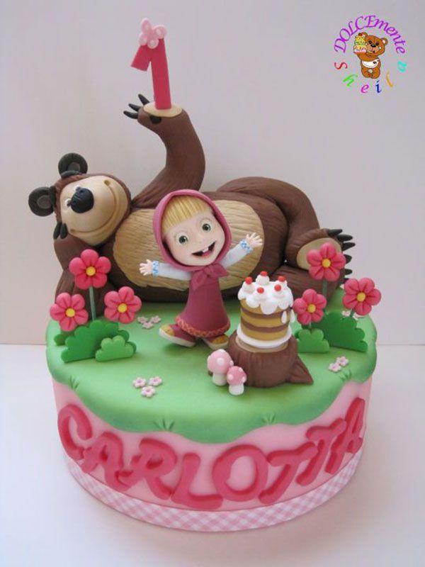torta di compleanno a tema masha e orso