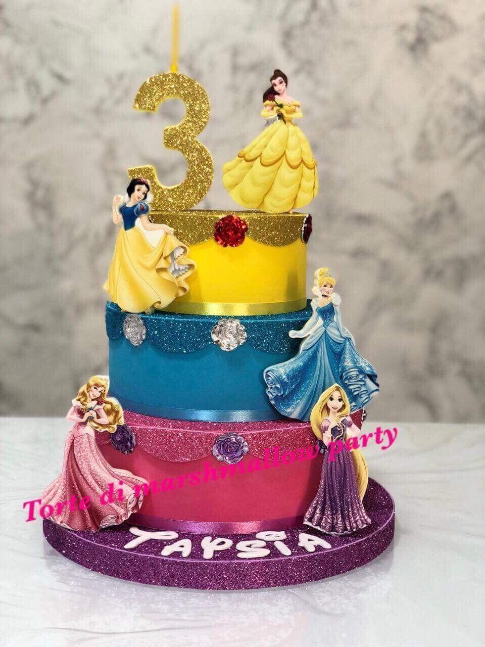 torta di compleanno a tema principesse